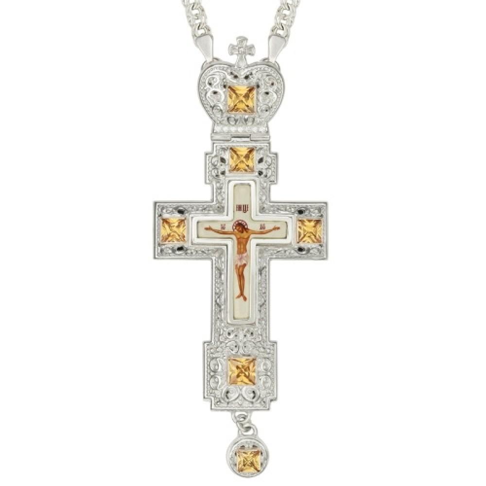 Крест латунный с принтом и вставками 2.10.0157Л-2