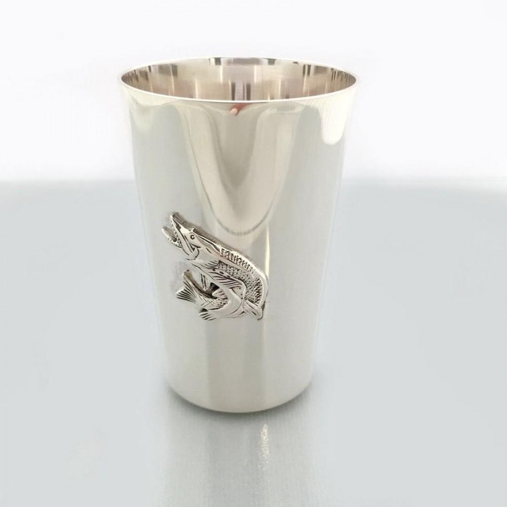 """Серебряная стопка """"Щука"""" бр-0032881"""