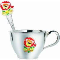 Набор серебряной посуды детский Львенок (чашка+ложка) ХЮ-080522/080492