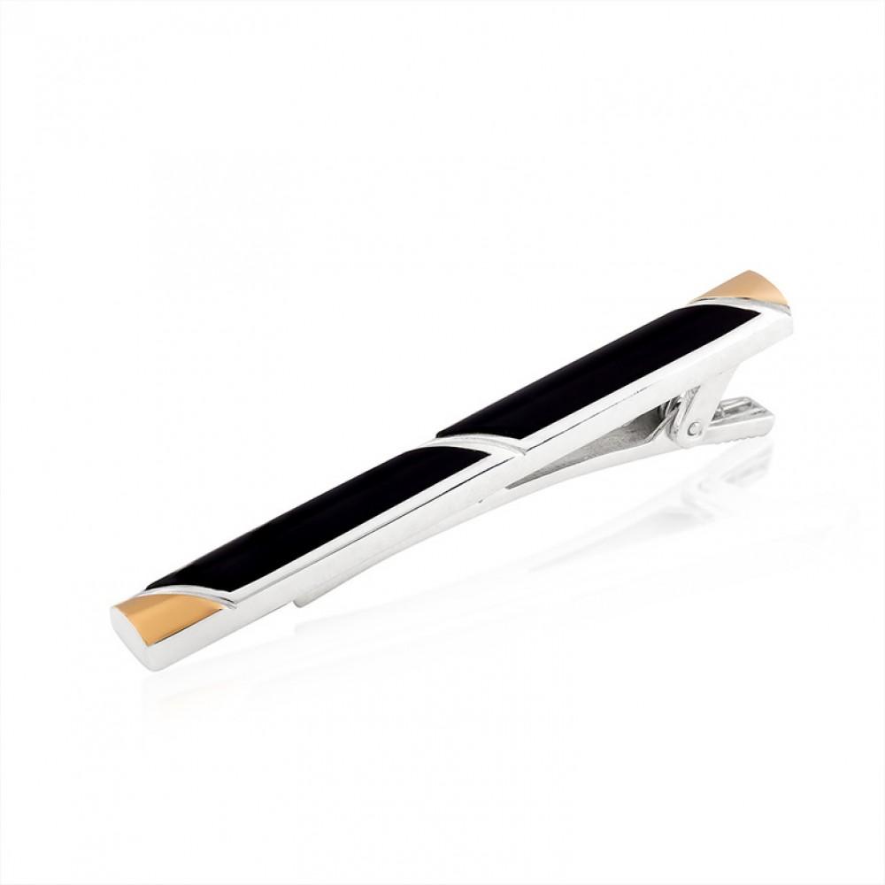 Серебряный зажим для галстука с золотой накладкой БЦЮ-350