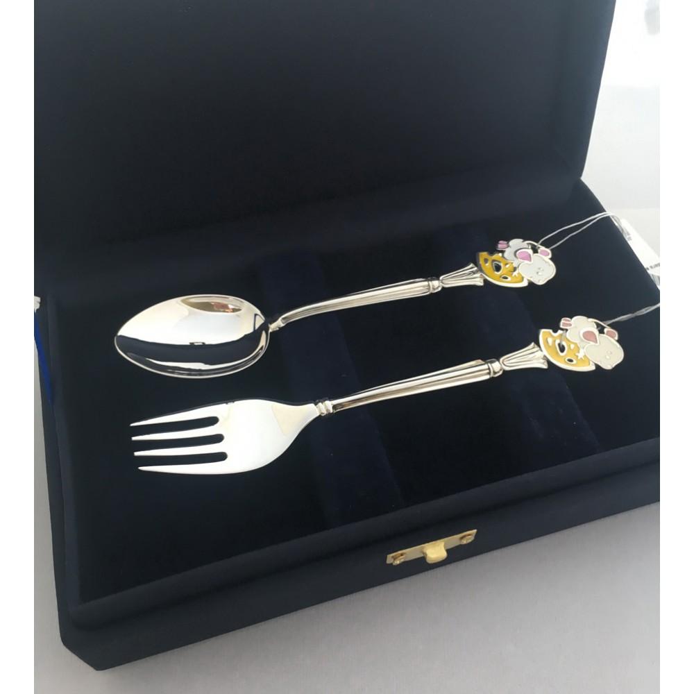 Набор серебряных приборов для ребенка  Мышка 2 предмета (ложка+вилка) БР-129119