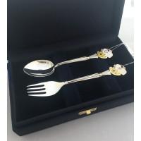 Набір дитячого срібного посуду Мишеня (ложка+виделка) БР-129119