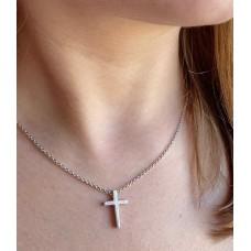 Серебряный крест в стиле Минимализм на цепочке ЛЗ-36063/5056