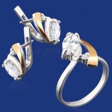 Срібний гарнітур з золотом бц-038