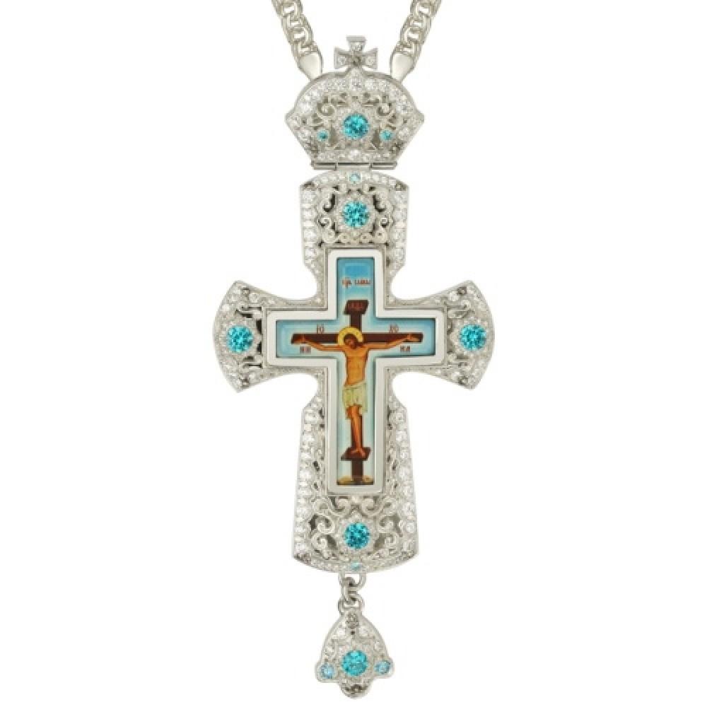 Крест латунный с принтом и вставками 2.10.0159Л-2