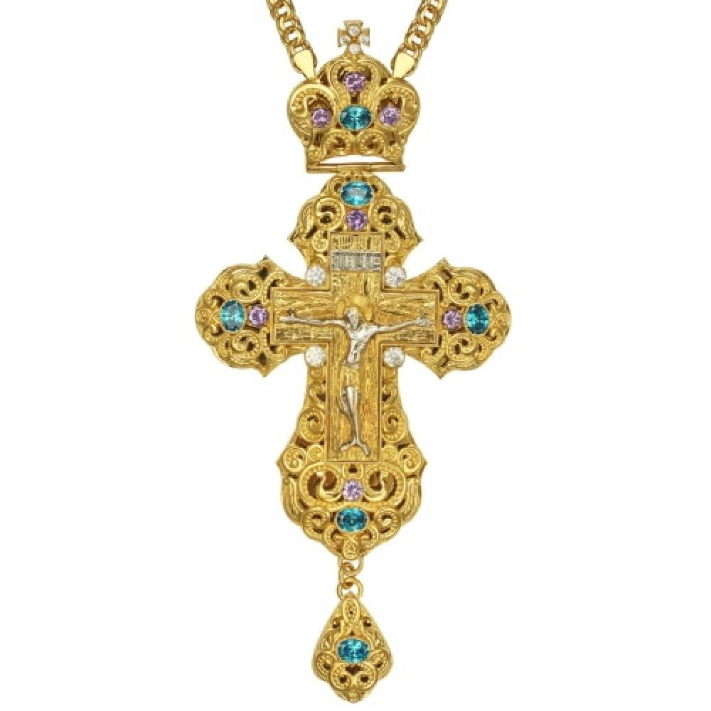 Крест латунный в позолоте с литьевым распятием 2.10.0164ЛП