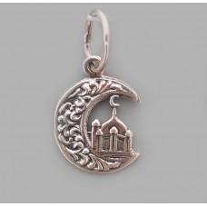 Серебряный мусульманский кулон  Мечеть  бр-3100087