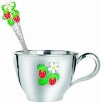 Набор серебряной посуды детский Клубничка (чашка+ложка) ХЮ-080498/080524