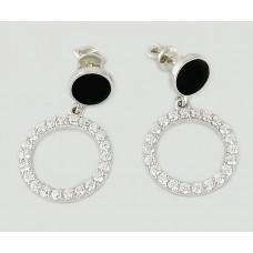Серебряные серьги с черной эмалью и фианитами ЛЗ-2492