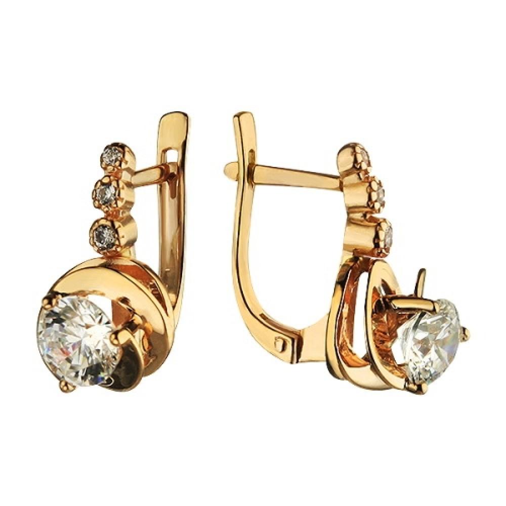 Золотые серьги с бриллиантовой закрепкой камня 1.3.0887