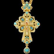 Крест наперсный латунный в позолоте с принтом и вставками 2.10.0098ЛП-2