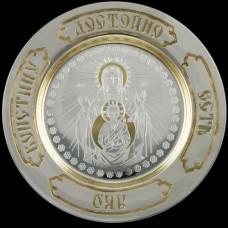 """Тарелка серебряная с травлением """"Знамение"""" аг-2.7.0104"""