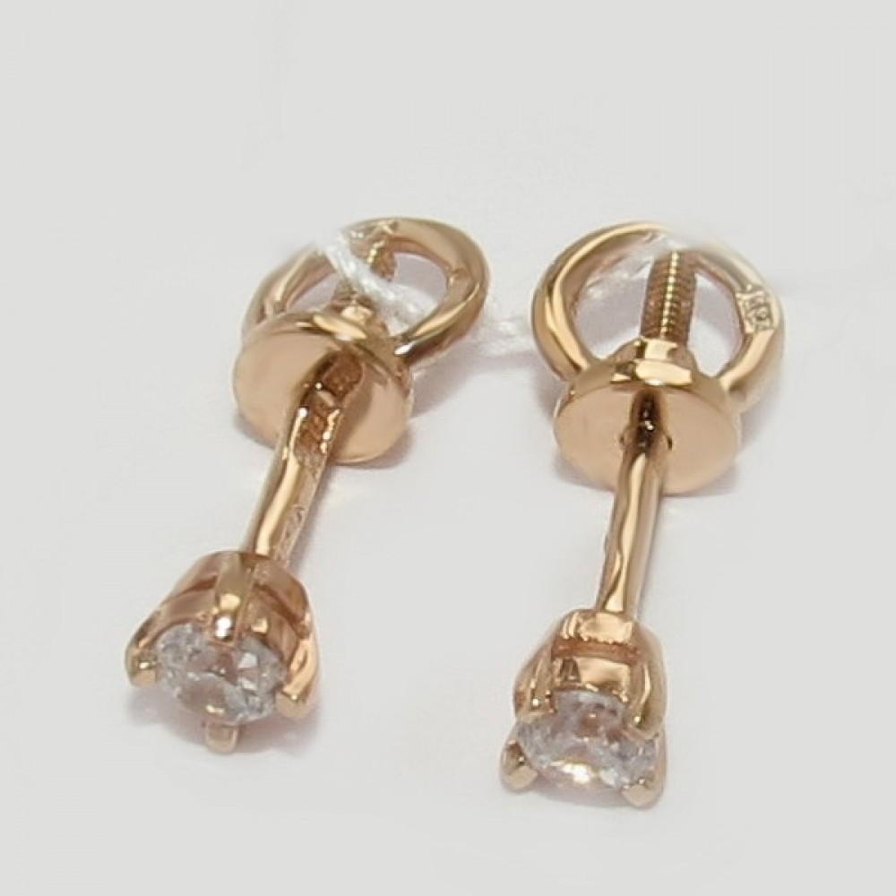 Золотые сережки гвоздики дс-30003