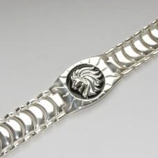 Срібний браслет чоловічий з чорною емаллю Лев бр-00321