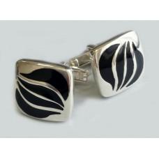 Серебряные запонки с эмалью бр-6100030