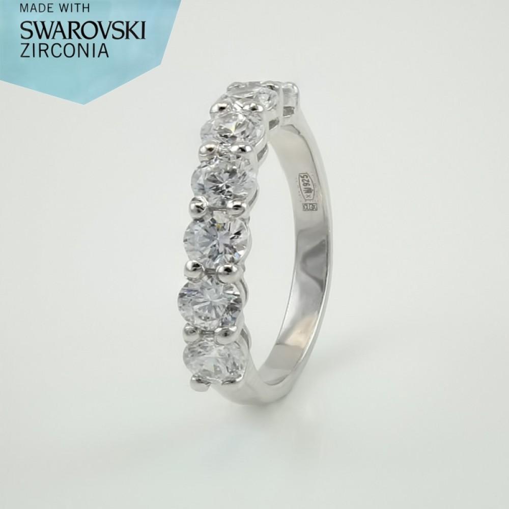 Срібна каблучка с камнями Swarovski ЮМ-1851
