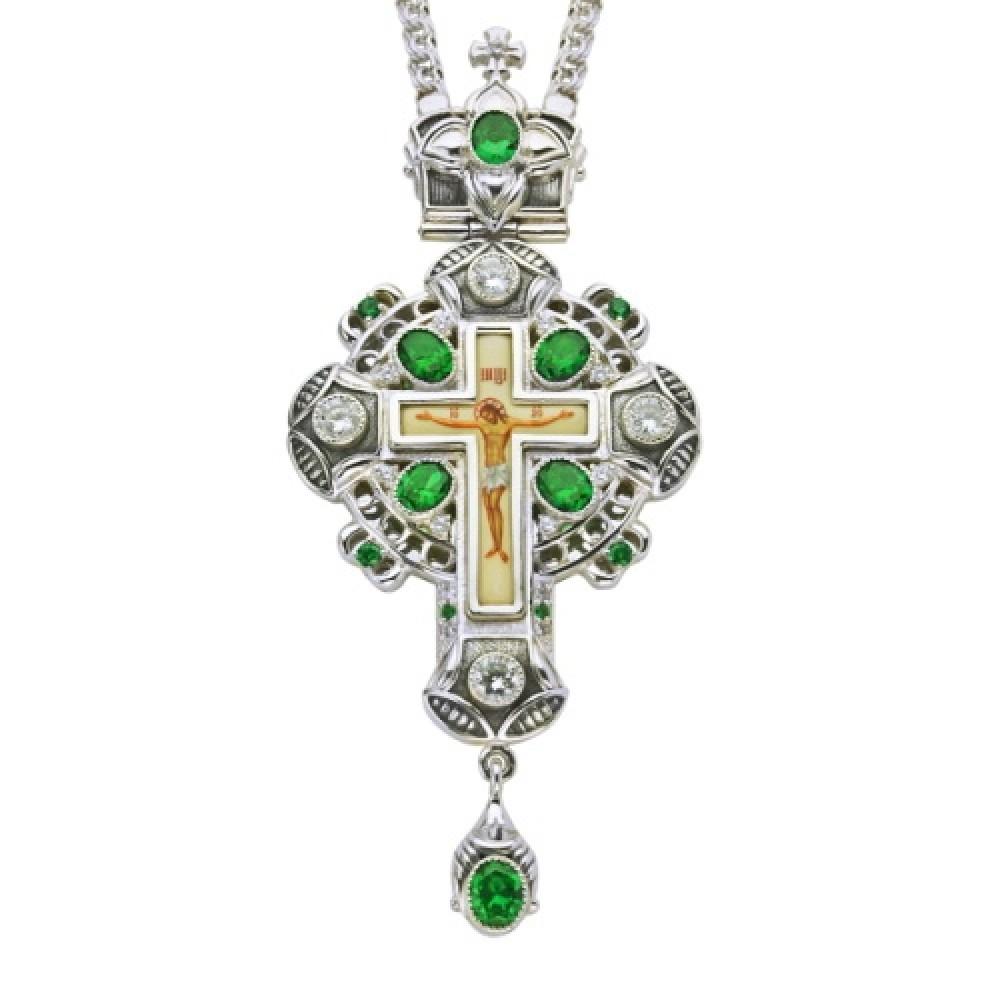 Крест наперсный серебряный с латунным принтом и цепью 2.10.0081-21