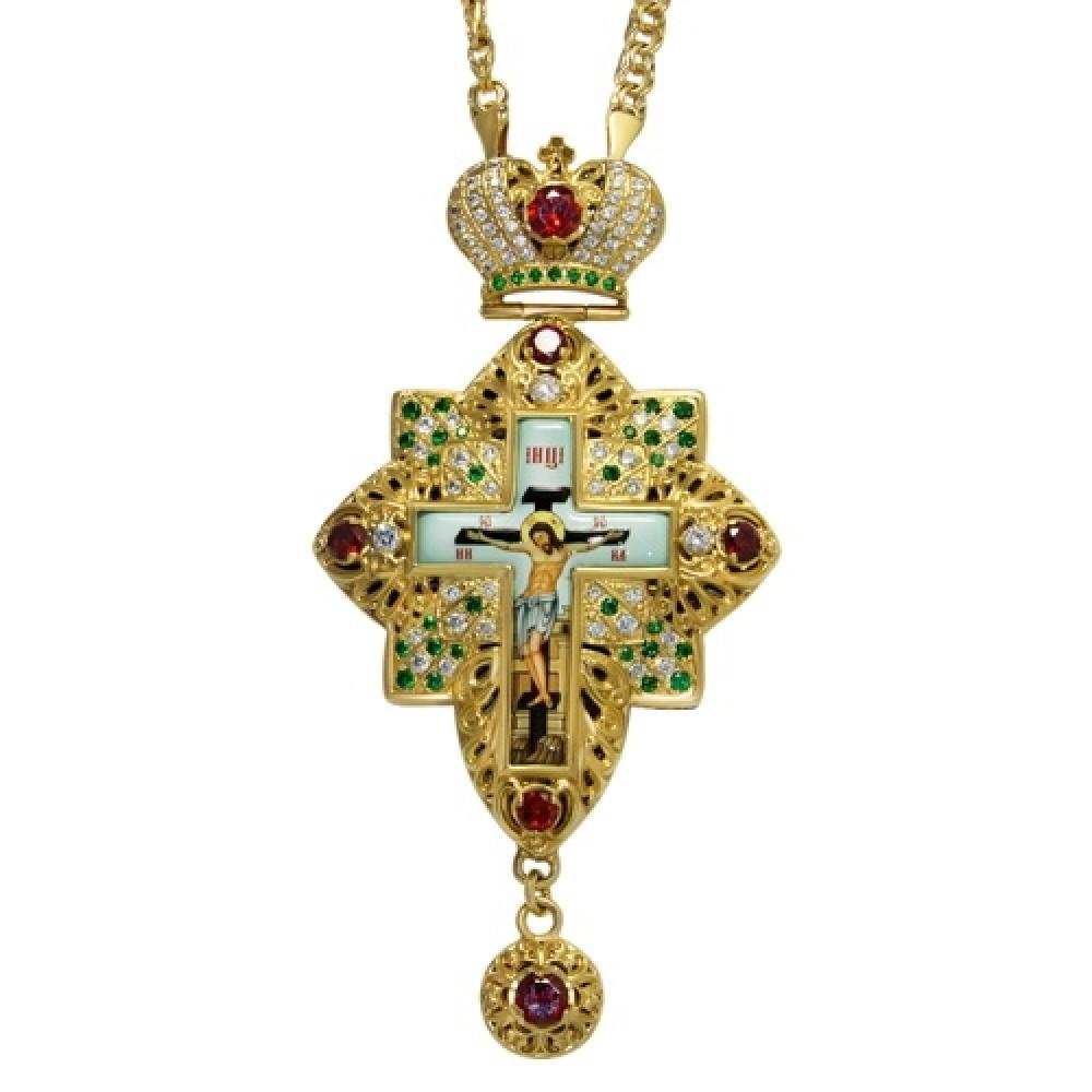 Крест наперсный латунный с украшениями 2.10.0160ЛП-21ЛП