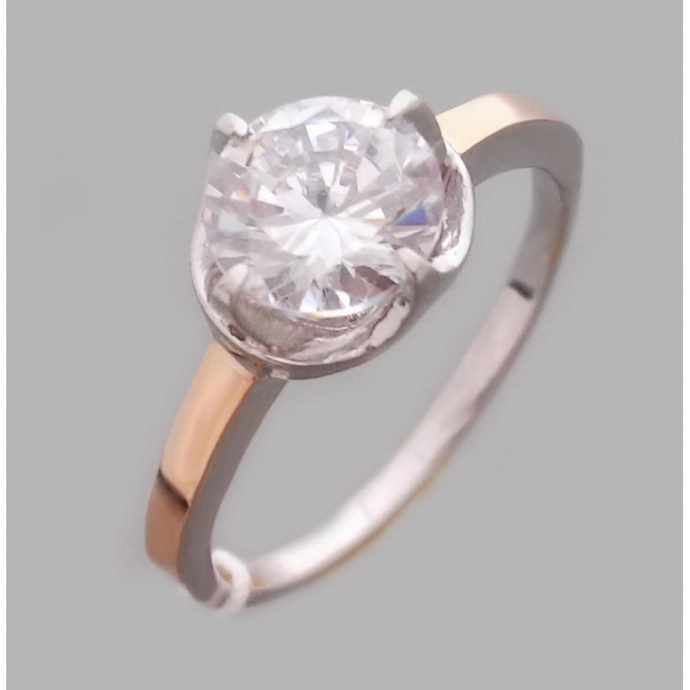Серебряное кольцо с золотой накладкой бр-2113562