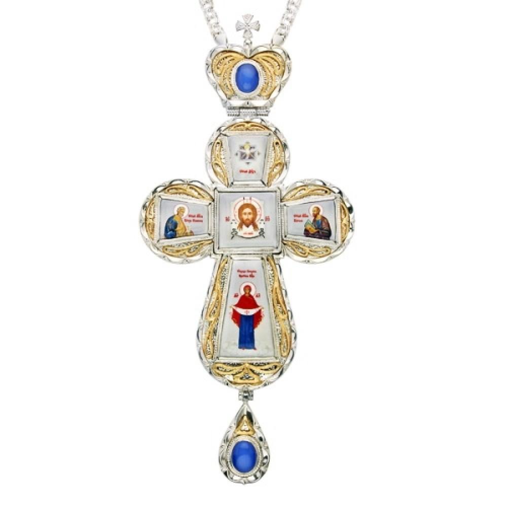 Крест наперсный серебряный с цепью 2.10.0021-21