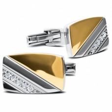 Серебряные запонки с золотой накладкой ЛЗ-82057