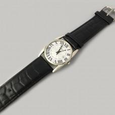 Серебряные часы мужские на кожаном браслете БР-0005171