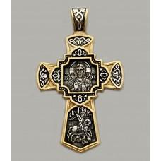 Срібний хрестик з позолотою та чорнінням ЛЗ-34006-1