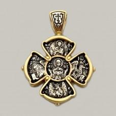 Срібний хрестик з позолотою та чорнінням ЛЗ-34017