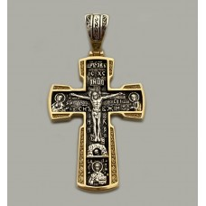 Срібний хрестик з позолотою та чорнінням ЛЗ-34019