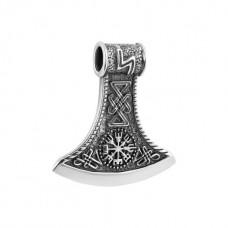 Мужской оберег из серебра кулон Секира Перуна ЮМ-30396