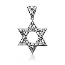 Кулон зі срібла з чорнінням Зірка Давида ЮМ-3484