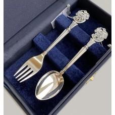 Набір дитячого срібного посуду Мишеня (ложка+виделка) БР-7992