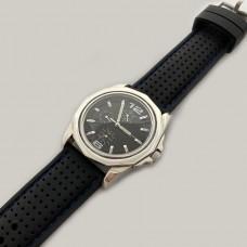Срібний чоловічий годинник на шкіряному ремені БР-0006471