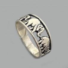Срібний перстень з чорнінням Слоники БР-0002421